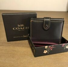 COACH 1941 Small Trifold Wallet BLACK Glovetanned Leather NWT BOXED!