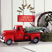 Christmas Vintage Red Trucks Metal Old Car Christmas Ornament Gift Table Decor