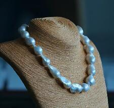 """18""""22-35MM NATURAL GENUINE SOUTH SEA WHITE BAROQUE ROUND PEARL NECKLACE"""