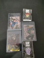 BAM BOX HORROR LOT Pins and Art Cards Evil Dead Freddy Krueger SAW 13 Ghosts NEW
