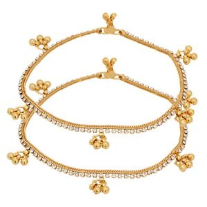 Indian Traditional Gold Plated Stone Bridal Fashion Costume Jewellery Anklets