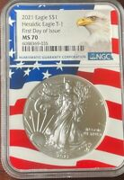 2021 Heraldic Silver Eagle NGC MS 70 Flag Core First Day of Issue