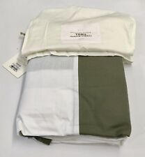 Restoration Hardware Tumble-Washed Twill Bed Skirt Cotton Linen Full Moss $89