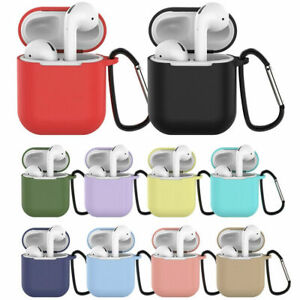 Silicone Gel Rubber Case Hook Protective Soft Cover For AirPods 1 & 2 Earphones