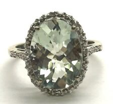 Sterling Silver Oxidized Green Prasiolite Diamond Accent Petite Cocktail Ring 7