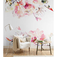 Spring Floral Removable Wallpaper Watercolor wall mural Peel and stick
