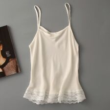 MUJER 100% SEDA ENCAJE tirante fino Camisola Camiseta sin mangas Básico blanca
