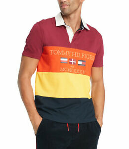 Tommy Hilfiger Men's Red Multi Mickey Colorblock Flag Graphic Rugby  Polo Shirt