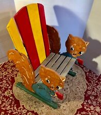 "Vintage 1940s Painted Folk Art Wooden ""Squirrel"" Child's Adirondack Chair"