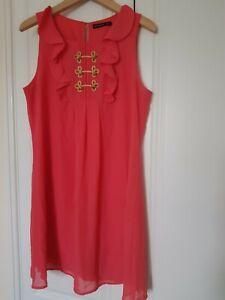ATMOSPHERE CORAL PINK SLEEVELESS DRESS UK 10 12