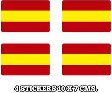 PEGATINA STICKER SET 4 BANDERA ESPAÑA SPANISH FLAG 10 X 7 CMS