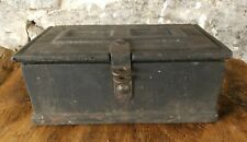 Antique Cast Iron Strong Box Metal Safe Rare 1800s Stagecoach with gate mark