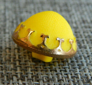 """Antique Vtg Glass Button Yellow with Gold Trim ~Aprx:3/4""""~#1303-D"""