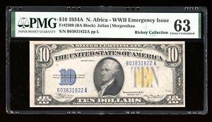 DBR 1934-A $10 North Africa Silver Fr. 2309 PMG 63 Serial B03831822A