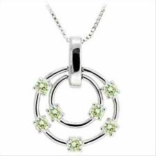 """925 Silver Floating Light Green CZ Double Circle Pendant, 18"""""""