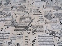 DIGITAL Designer Musical Notes Cotton Curtain Fabric Upholstery Craft MUSIC