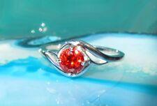 anello argento sterling 925 CON BRILLANTE ROSSO Zirconia Pietre TG 17