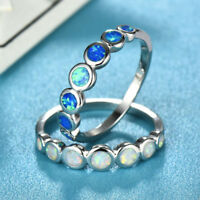 Vintage Fashion 925 Silver Plated Round White/Blue Fire Opal Wedding Band Rings