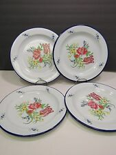 "Set of 4 Alsace Bagatelle Plates Enamelware Collectable Tulips Blue 10"" 1994"