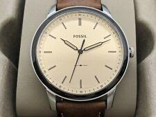 Fossil Mens Brown Minimalist Watch Three-Hand Leather Quartz FS5619 Modern 44MM