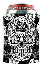 Sugar Skull Can Wrap Zip-Up Koozie Coozie Coolie Cooler Huggie #1045