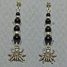 Sterling Silver Spider Dangle Earrings Graduated Black Onyx Bead Trim Halloween