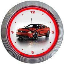 "Ford Mustang Boss 302 Red Neon Hanging White Clock 15"" Diameter 8FBOSS"
