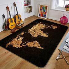 3D Black Gold ZHU277 World Map Non Slip Rug Mat Elegant Photo Carpet Amy