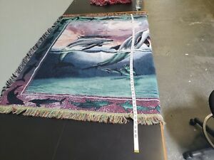 Set of Dolphin Blanket Tapestry-Style Fringed Deep Purple Green Blue 57 × 41