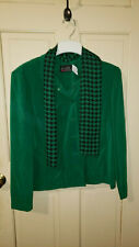 Women's dress jacket by M.H.M., green, size 16, attached scarf