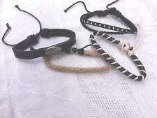 Men's Surfer Slider Leather look Set of 4 Adjustable Bracelets Small size