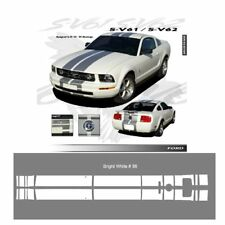 Ford Mustang GT 2005 to 2009 Bright White Bumper to Bumper Stripes Graphic Kit