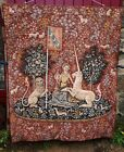 """The Lady with The Unicorn Wall Hanging Tapestry 61"""" x 49 1/4"""" France Vintage"""