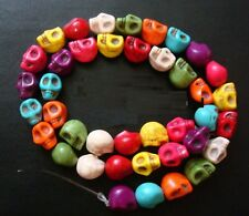 38pcs 10mm skull beads multicolored reconstituted stone 16 inch strand fpb329