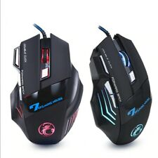 Ergonomic Wired Gaming Silent Mouse 7 Button LED 5500 DPI USB Computer Gamer Mic