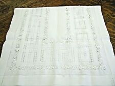 Gorgeous Antique Drawn Work or Pulled Thread Table Runner - White - Elegant