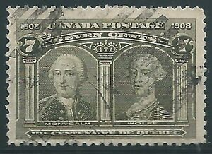 Canada, 1908, 7c olive, Tercentenary, Scott 100, Used, Fine - Very Fine