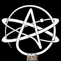 ATHEIST MOLECULE vinyl Sticker ATHEISM Theism FREETHOUGHT No Deities