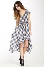 NEW $148 FREE PEOPLE White Combo Rad for Plaid Hi-Lo Dress Size S