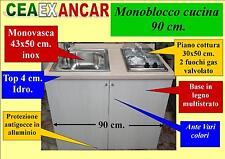 Monoblocco cucina da 90 cm. piano cottura+lavello, vari colori
