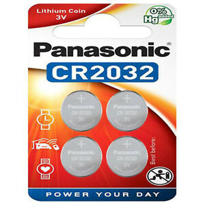 kQ Panasonic Knopfzelle Lithium CR2032 3V Batterien 4er Blister