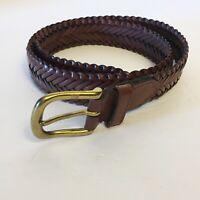 Women's Braided Brown Bonded Leather Boho Belt Size Medium