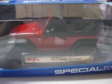1:18 SCALE MAISTO 2014  JEEP WRANGLER DIECAST MODEL CAR RED