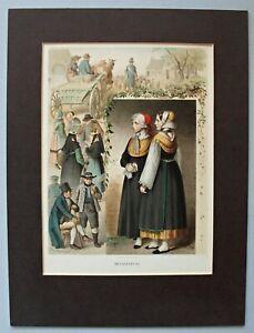 Mecklenburg Frauentrachten - Lithographie von A. Kretschmer 1872 signiert