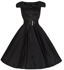 Hearts & Roses London Rockabilly Retro 50's Pin Up Housewife Black Dress US 8
