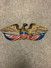 Vintage 1958 Whitehall Colored Oatriotic Wall Eagle Cast Aluminum Indoor/Outdoor