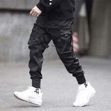 Men Ribbons Hip Hop Pocket Cargo Pants Harem Joggers Harajuku Sweatpant Trousers