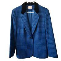 VTG Pendleton Womens Blue Plaid Blazer 100% Virgin Wool Velvet Collar