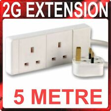 5M Extension Lead TWIN Socket 2 Gang Way 5 Metre  Mains Lead Cable White 13A 2G