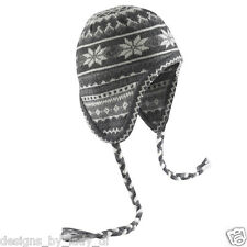 Wigwam F4262 Wool Polar Ice Earflap Hat NWT, Grays, One Size